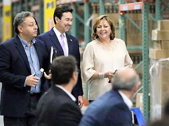 From left, Jerry Pacheco, president of the Border Industrial Association; Jon Barela, then-New Mexico economic development secretary and now Borderplex Alliance CEO; and New Mexico Gov. Susana Martinez are shown at an event in 2016 in Santa Teresa.