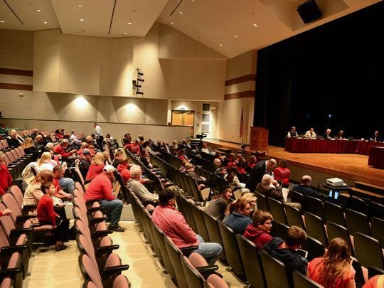 Indian River School District parents came out in protest to the Delaware Department of Education's proposed Regulation 225 on Monday, Nov. 27, 2017, at Indian River High School for the Board of Education meeting.