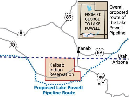 The route of the Lake Powell Pipeline is still uncertain, with Utah officials proposing the project go around the Kaibab Paiute Tribe reservation but tribal leaders asking to be included in the project.