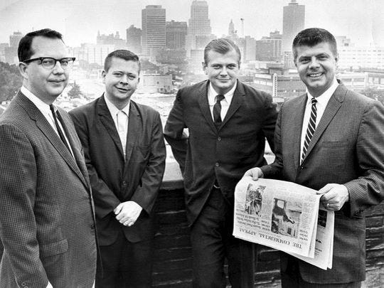 Angus McEachran (second from right) after being named assistant city editor of The Commercial Appeal in 1966.