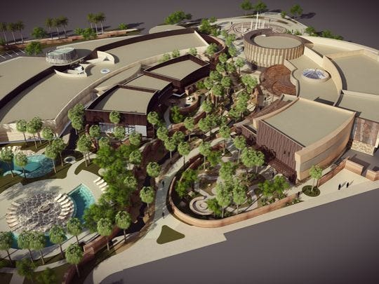 The planned Agua Caliente Cultural Museum in Palm Springs. They will also expand their casino into a spa and bathhouse.