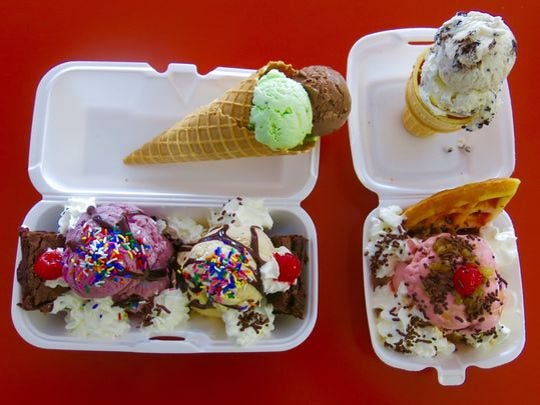 A pistachio and chocolate waffle cone, along with other ice cream creations from Magic Fountain.