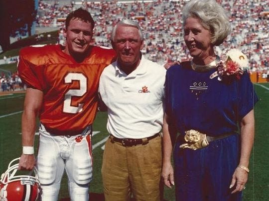 Nelson Welch (2), shown here with his parents at Clemson, was the first Tiger to be named All-ACC for four straight years.