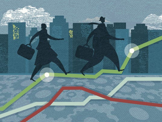 Business person silhouettes - competitive investment growth targets