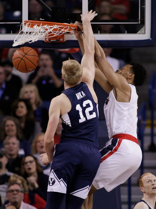 Gonzaga forward Johnathan Williams, right, dunks against BYU forward Eric Mika (12) during the first half of an NCAA college basketball game in Spokane, Wash., Saturday, Feb. 25, 2017. (AP Photo/Young Kwak)
