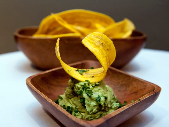 Guacamole and plantain chips at Rebecca's in Edgewater.