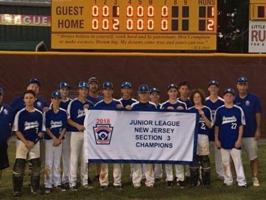 The Sayreville Junior League baseball team won the