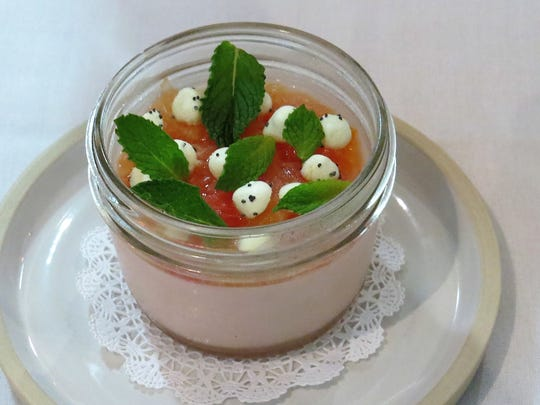 Citrus panna cotta is dotted with spheres of poppyseed meringue at Bottlest Winery, Bar & Bistro in Buellton. The restaurant's executive chef, Owen Hanavan, previously served as head chef at Barbareno in Santa Barbara.