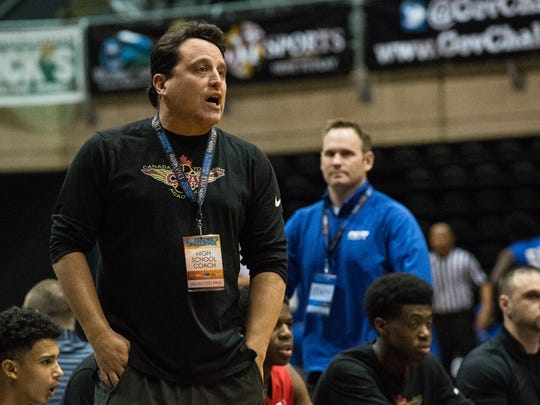 Canada Topflight Academy head coach Tony House instructs his team during a game against Saint Andrews during the Governor's Challenge at the Wicomico Youth and Civic Center on Thursday, Dec. 28, 2017.