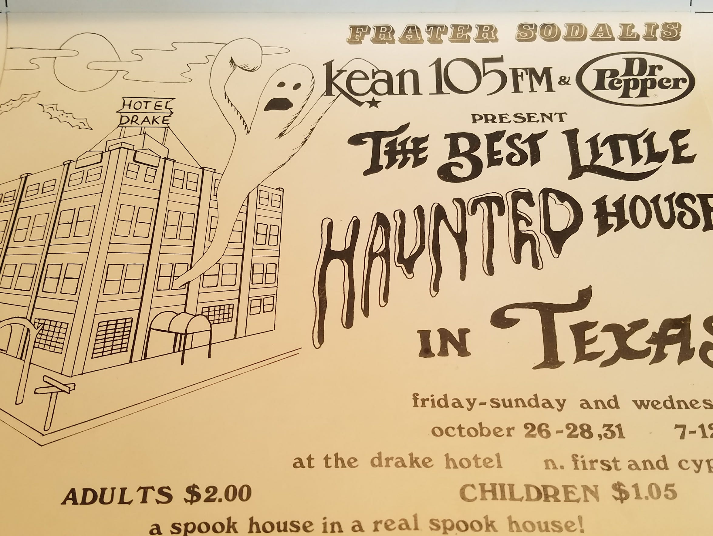 A vintage flyer for the Frater Sodalis Haunted House