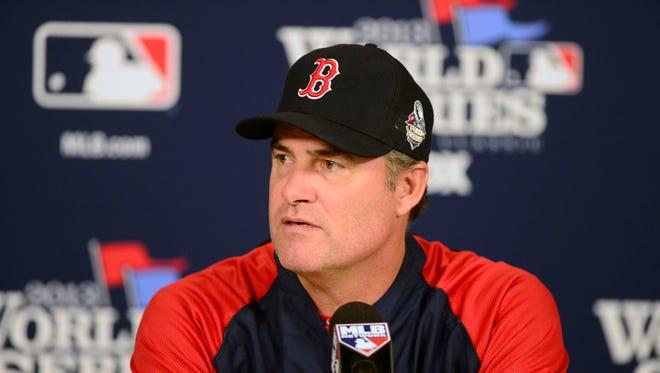 Boston Red Sox manager John Farrell addresses the media.