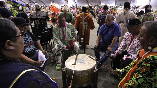 A group of participants formed a drum circle during the 25th Annual Thunder and Lightning Pow Wow, Sunday, at Morongo Casino Resort & Spa.