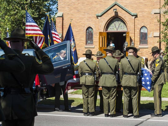 The casket containing Vermont State Trooper Kyle Young
