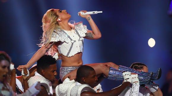 Lady Gaga performs Bad Romance at Super Bowl 51.