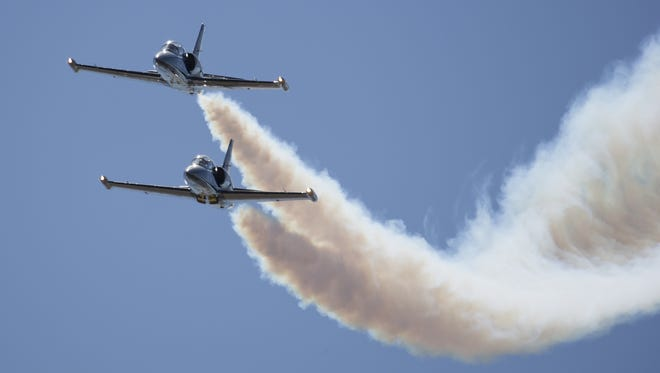 The Breitling Jet Team performs during the 52nd annaul National Championship Air Races at the Reno-Stead Airport.
