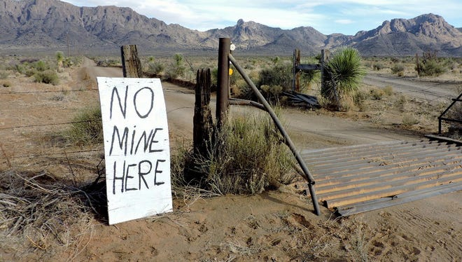 Protest signs popped up along Camino Doce in the Mahoney Park area back in 2019 against a proposed mining operation in the Florida Mountains.