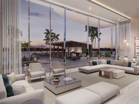 The lounge at ONE, a tower to be built on the riverfront