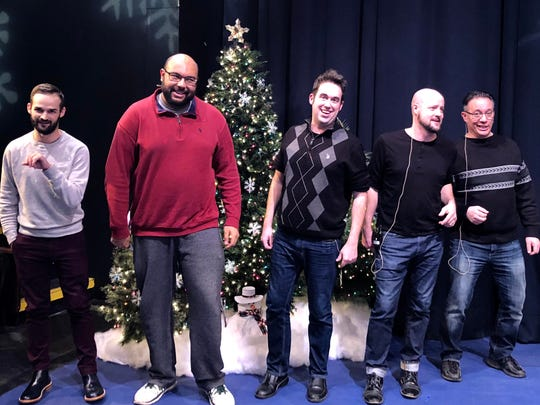 """Actors and singers practice for Riverwalk's """"The Holiday"""
