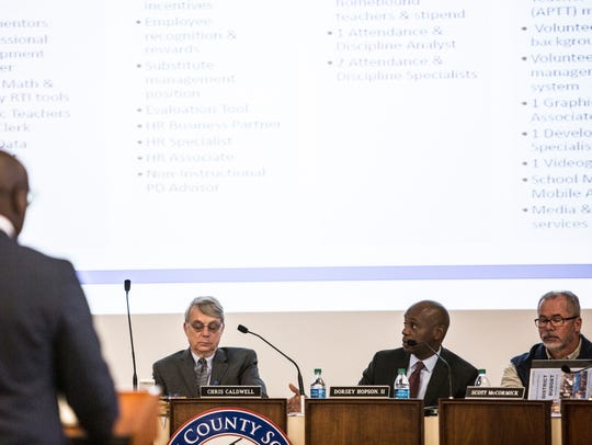 Shelby County Schools Superintendent Dorsey Hopson (second from right) speaks during a board meeting last year regarding the budget.