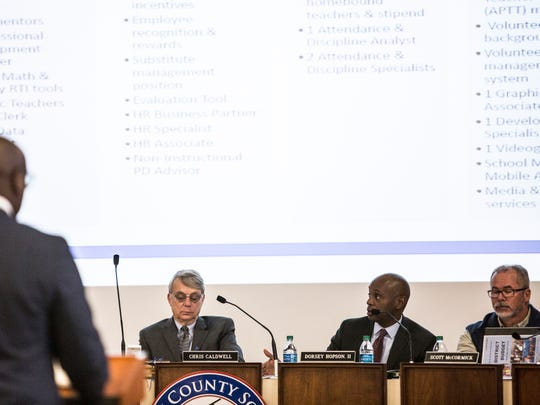 Shelby County Schools Superintendent Dorsey Hopson (second from right) speaks during a board meeting marking the beginning of public input into the budget.