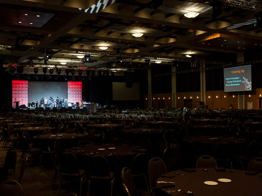 Stage preparations and sound checks take place May 11, 2017, before the Blues Music Awards by the Blues Foundation at the Cook Convention Center.