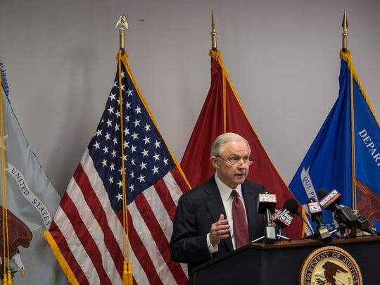 May 25, 2017 - Speaking to about 100 people at the U.S. District courthouse in Memphis, U.S. Attorney General Jeff Session expressed appreciation for law enforcement and addressed violent crime.