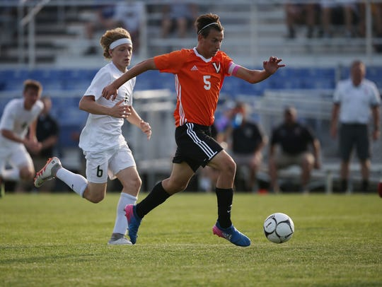 Valley's Connor Russo goes after the ball during the