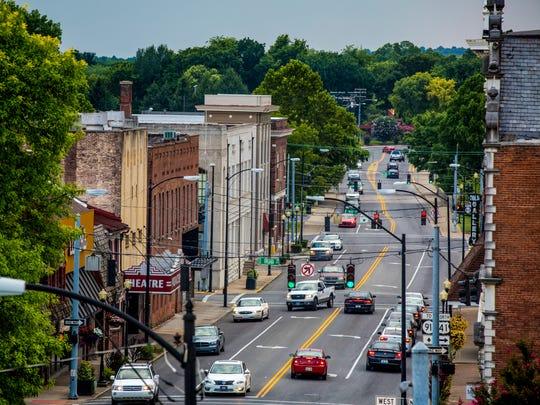 Commuters travel on Ninth Street in Hopkinsville, Kentucky