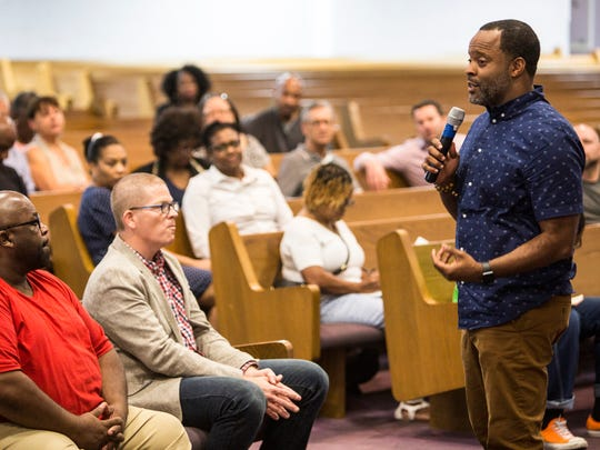 Rev. Dr. Stacy Spencer, founding senior pastor of New Direction Christian Church, speaks during a meeting for Memphis Interfaith Coalition for Action and Hope at Olivet Fellowship Baptist Church on Aug. 8, 2017. In light of recent attacks and threats made against churches, Spencer said that congregations should be cautious and watch for suspicious behavior.   ​