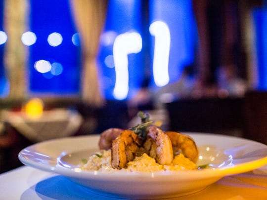 September 18, 2017 - Jumbo shrimp and grits at Itta Bena where they serve contemporary Southern cuisine on Beale street located on the third floor of BB King's.