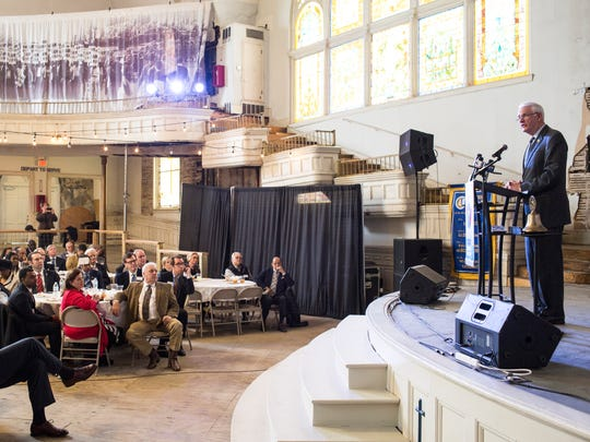 February 06, 2018 - Shelby County Mayor Mark Luttrell delivers the State of the County address at the Rotary Club luncheon in Clayborn Temple. This was Mayor Luttrell's last State of the County address as his final term ends this year.