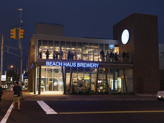 Visitors to the Beach Haus Brewery on Main Street in