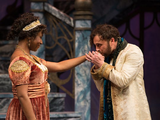 "Ginneh Thomas as Olivia with Charles Pasternak as Orsino. The Alabama Shakespeare Festival presents William Shakespeare's ""Twelfth Night"" comedy April 20-May 5, 2018."