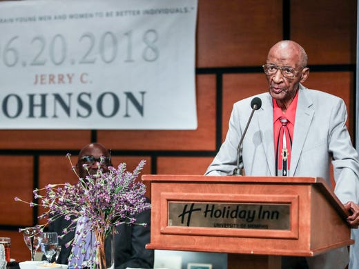 June 20, 2018 - Jerry Johnson speaks during his 100th