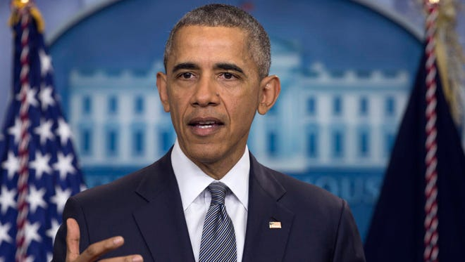 In this photo taken May 6, 2016, President Barack Obama speaks in the briefing room of the White House in Washington.