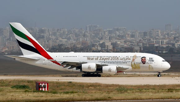 A double-decker Airbus A380 plane at the Rafik Hariri