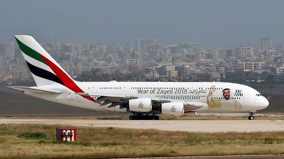 A double-decker Airbus A380 plane at the Rafik Hariri