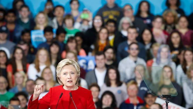 Democratic presidential candidate Hillary Clinton speaks at a campaign rally at Kent State University on Monday in Kent, Ohio.