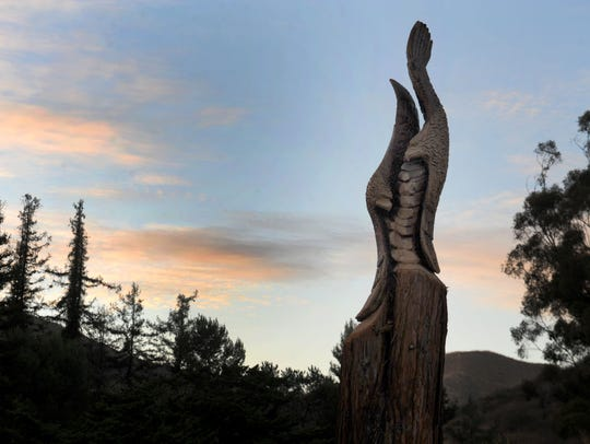John Mahoney carved two eagles flying back to back at the Redwood Glen picnic area at Arroyo Verde Park in Ventura.