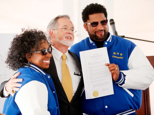 From left, Gladys Knight, Canton Mayor Michael Ray, and Canton native William McDowell stand together after Ray's proclamation of the Reynolds Community Center fundraising kick-off day February 28, 2017. The center is expected to be completed in the summer of 2019 and is estimated to cost $5 million. Plans for the community center include child care, athletics, arts and a library with computers.
