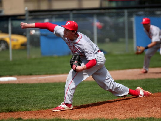 Junior Luke Albright is part of a Fishers pitching