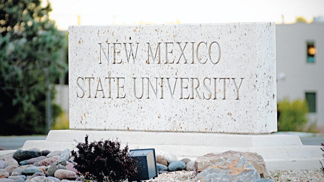 The stone with the name of New Mexico State University is shown in this undated photo.