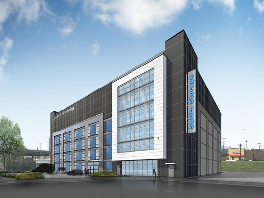 A rendering of the six-story, 89,310-square-foot SoBro Storage building that The Natchez Group and Atlas Real Estate Partners just started building at 825 Third Ave. S. in SoBro