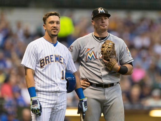 brewers 3  marlins 2  catcher stephen vogt hits two hrs in home debut