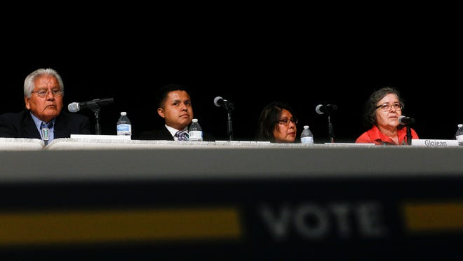 County Commissioner District 1 candidates Walace Charley, left, Zachariah George, Wetona Becenti and GloJean Todacheene take part in a candidates forum Wednesday at the Farmington Civic Center.