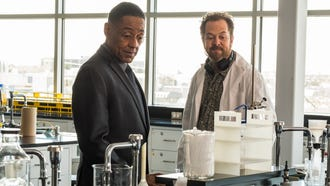 Gus Fring (Giancarlo Esposito, left) pays Gale (David Costabile) a visit to check on meth samples in Monday's episode of 'Better Call Saul.'