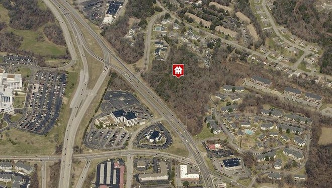 An aerial view showing the targeted site on Old Hickory Boulevard in Hermitage.