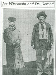 Dr. Alphonse Gerend, early Native American scholar, with Joe Wisconsin.