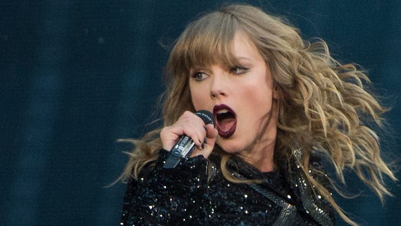 Taylor Swift performs at Wembley Stadium  in London.