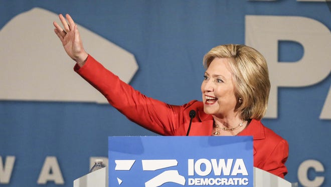 Democratic presidential hopeful, former U.S. Secretary of State Hillary Clinton, speaks at the Iowa Democratic Party's Hall of Fame Celebration at the Cedar Rapids Convention Center Friday, July 17, 2015.